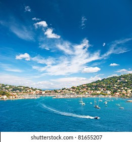 beautiful mediterranean landscape. view of resort and bay of Cote d' Azur in France