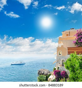 beautiful mediterranean landscape. view of sea and luxury resort of Cote d'Azur in France