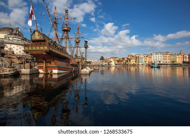 Beautiful Mediterrenean View with a Clear Blue Sky in Disney Sea Tokyo Japan