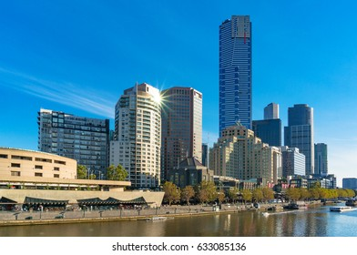 Beautiful Melbourne cityscape with river view and sun reflected on building window. Melbourne, Victoria. Australia