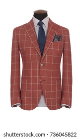 Beautiful men's red checkered jacket suit with shirt and tie on a mannequin isolated on white background