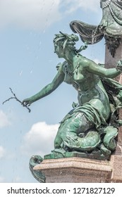 Beautiful mermaid at fountain named Mendebrunnen in Leipzig, downtown, Germany