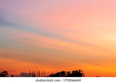 Beautiful Mesmerizing Sunset. Golden hour and blue hour. selective focus