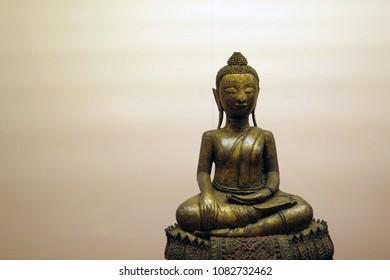 A beautiful metal Buddha sculpture in Sukhothai era, Thailand
