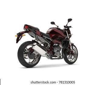 Beautiful metallic dark red modern sports motorcycle - tail view - 3D Illustration