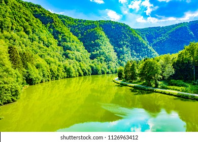 Beautiful Meuse River near Revin in French Ardennes, Grand Est, Champagne-Ardenne, France