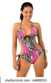 Beautiful Mexican bikini model isolated over white