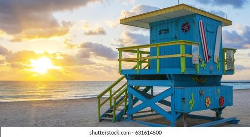 Beautiful Miami South Beach sunrise with lifeguard tower, USA.