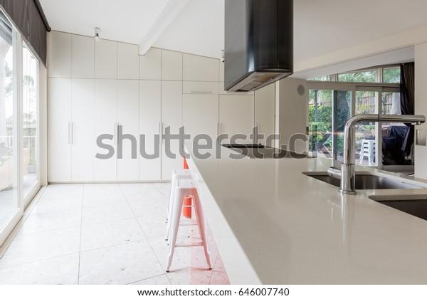 Beautiful Mid Century Modern White Kitchen Stock Photo Edit
