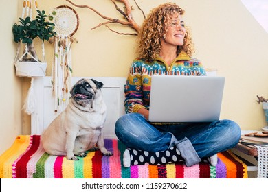 beautiful middle age lady curly hair work with a laptop outdoor at home in the terrace smiling and looking at his side. funny dog pug at her right sitting and looking. best friends forever and woman