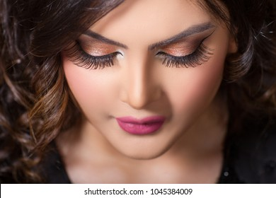 Beautiful middle eastern woman arabic girl with pretty face and make up