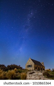 Beautiful milky way at the Church of the Good Shepherd, Lake Tekapo which is located in south island,New Zealand.
