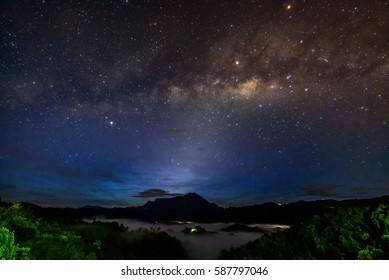 The beautiful milky way with sunrise during blue hour located Sabah, Borneo