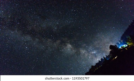 beautiful milkyway on a night sky, Long exposure photograph, with grains