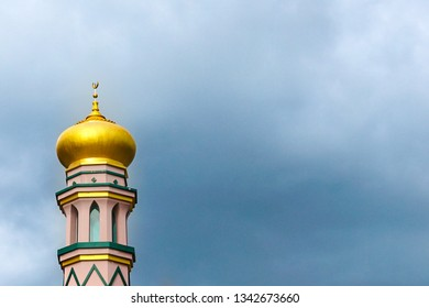 Beautiful minaret of a mosque with copy space