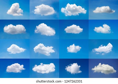 Beautiful minimal single nature white cloud on blue sky background collection.Photo for nature cloudscape and multi purpose use.