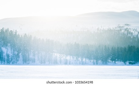 A beautiful minimalist landscape of a frozen lake in central Norway. Wide snowy area with trees.