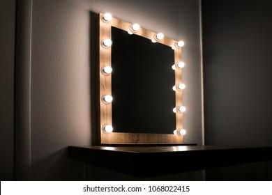 Beautiful mirror in modern makeup room