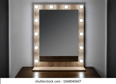 Beautiful mirror in modern makeup room