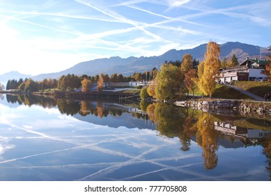 A beautiful mirror-like reflection on  Etang Long, Crans Montana, Switzerland.