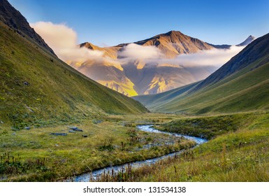 Beautiful mist landscapes with high mountains of Georgia, Europe. Caucasus mountains. Beauty world.