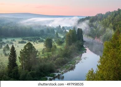 beautiful misty dawn in the Deer Springs Nature Park