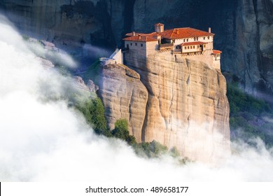 Beautiful misty layers of mountains near Meteora in Greece in sunlight. Greece