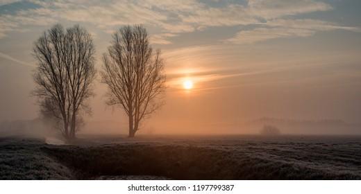 Beautiful, misty sunrise