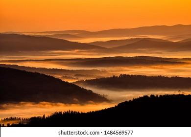 Beautiful misty sunrise in the mountains. Bieszczady Mountains. Poland.