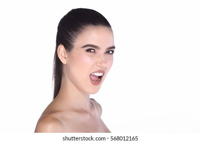Beautiful Mix Race European Woman with Fashion Clean skin make up black hair oval face shape, big smile with good arrange white teeth lip, copy space studio lighting
