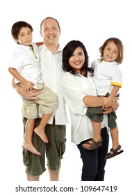 Beautiful mixed race family - isolated over a white background