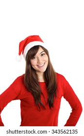 Beautiful mixed race girl as Christmas Santa Claus on white background