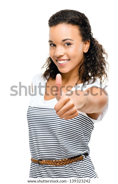 Beautiful mixed race Woman smiling thumbs up isolated on white background