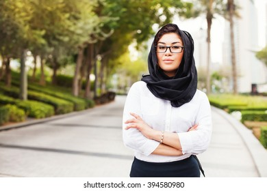 beautiful mixed raced muslim woman on a street of Dubai city