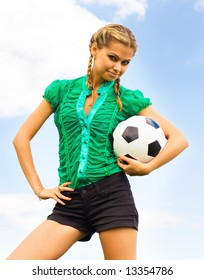 Beautiful model with classical soccer ball