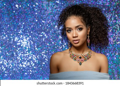 Beautiful model girl with set of Jewelry. Luxury girl in shine jewellry: Eearrings, Necklace, and Ring. Woman in jewelry from Gold, Precious Stones, Siamonds. Beauty and accessories. - Shutterstock ID 1843668391