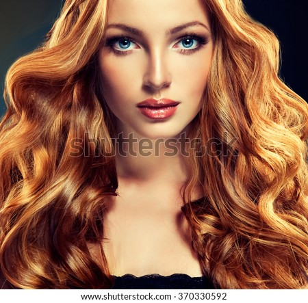 Beautiful Model Long Curly Red Hair Stock Photo Edit Now 370330592
