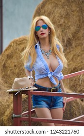 Beautiful and model model on a farm, in cowgirl style clothing