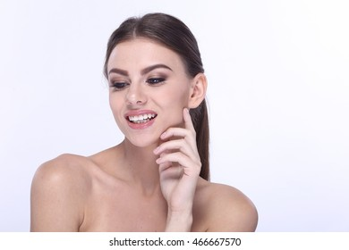Beautiful Model with perfect skin Portrait Caucasian and dark eye brown on white background