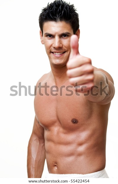 beautiful model photographed with the thumbs up