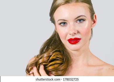 Beautiful Model With Strawberry Lips