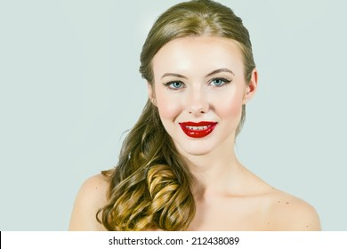 Beautiful Model With Strawberry Lips and Long Blond Hair