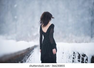 Beautiful model in winter scene