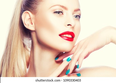 Beautiful model woman face with bright make-up, red lipstick, teeth smile and hands near head. Gorgeous girl portrait