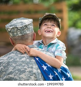 Beautiful modern american family. Father wearing military uniform hugs his son