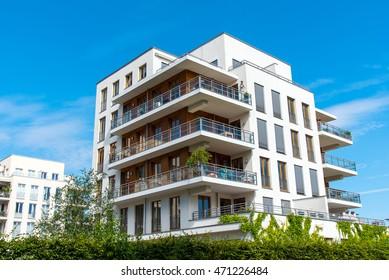 Beautiful modern apartment house seen in Berlin, Germany