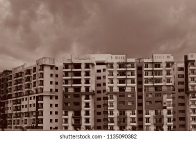 Beautiful modern architectural building in Bangalore city isolated unique photo