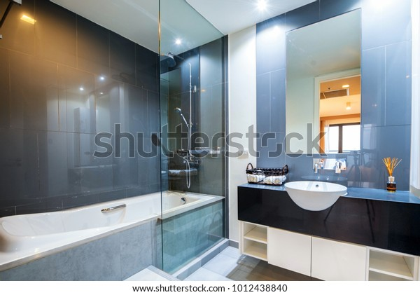 . Beautiful Modern Bathroom Interior Luxury Apartment Stock Photo