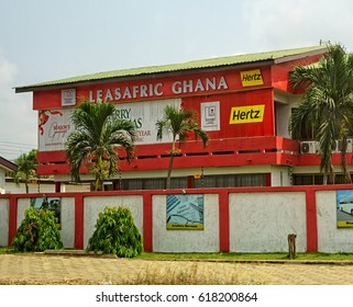 Beautiful modern building in Ghana. Leasafric Ghana. Finance leasing. Economical development in Africa. Architecture of Accra. Construction industry in West Africa. Ghana, Accra - January 19,2017