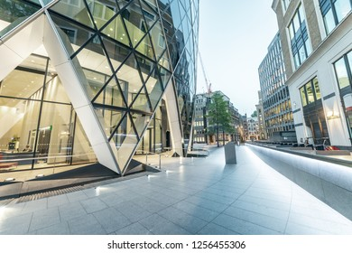 Beautiful modern buildings of the City at sunset, London. Business and corporate concept.